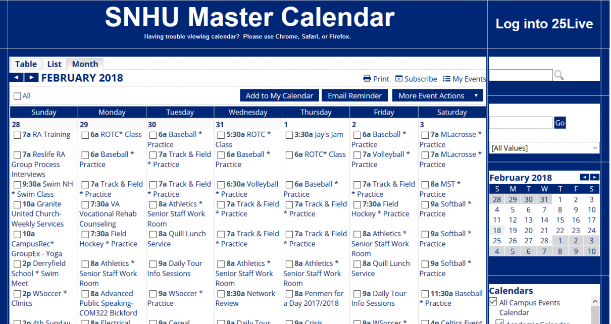 Snhu Academic Calendar.Changes To Master Calendar Create New Opportunities As Well As